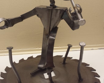 Steampunk robot in top hat  sculpture,  one of a kind Metal robot,  steampunk metal robot,  construction worker robot,  upcycled robot guy