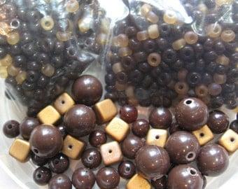 Vintage Chocolate Caramel Bead Lot