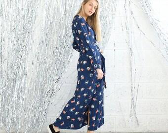 SALE!Party wrap dress  ,Floral Blue Print .
