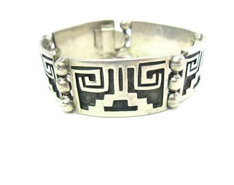 Aztec Bracelet. Mexican Silver Overlay Links, Black Oxidation. Taxco Artisan Jewelry. Abstract Temple Panels. Vintage 1950s Mexico 1.27 oz