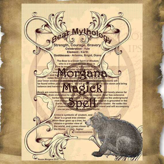 BEAR MYTHOLOGY, Digital Download,  Book of Shadows Page, Grimoire, Scrapbook, White Magick, Wiccan, Witchcraft,