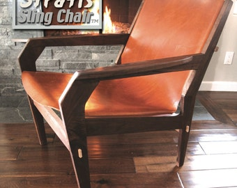 Stratis Sling Chair tm, Low Back -Available Now!  Handmade Original Design,  10 oz Leather