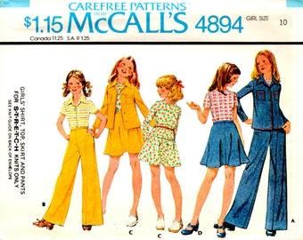 1976 McCalls 4894 Size 10 Girls Pant Pattern Girls Shirt Pattern Girls Top Pattern Stretch Knits Sewing Pattern Supply Retro 70s FF