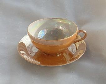 Peach Lusterware Tea Cup Saucer Set