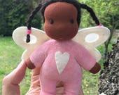 Mini Fae Doll Trudy, pink romper, fairy wings
