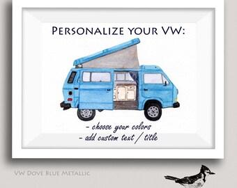 Personalized VW Vanagon Westfalia Art Happy Camper Gift