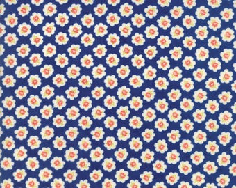 Coney Island Midnight Blue Cotton Blossoms by Fig Tree Quilts of Moda Fabric, 20281 11, Sold In Half Yard Amounts