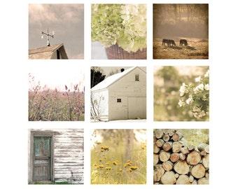Country Print Set, rustic decor set, wall art print set, Home Decor, golden, 9 Photos, yellow, farmhouse, cottage chic, barn, farmhouse set