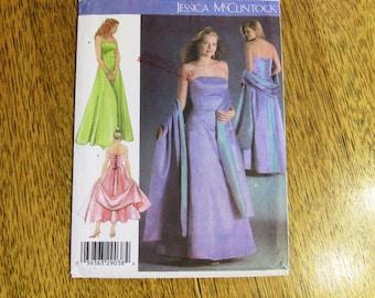 DESIGNER Jessica McClintock Formal Off the Shoulder Gown & Stole - CHOOSE Your Plus Size - UNCUT Sewing Pattern Simplicity 4655