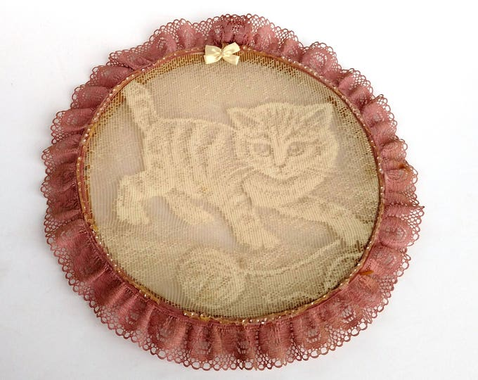 Vintage Framed Lace with Kitten and Ball of Yarn