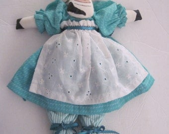 Cow Hand Painted Plush Turquoise Dress Eyelet Apron Bloomers