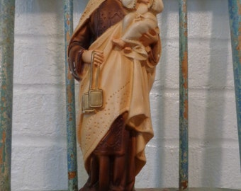 Vintage Plaster Saint and baby