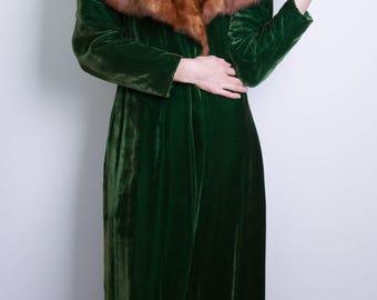 Velvet Green Duster Coat