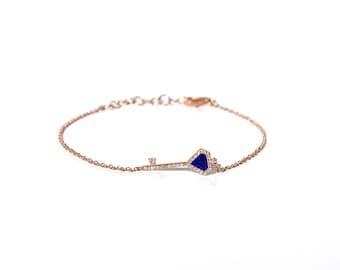 14K Diamond Lapis Lazuli/Turquoise Key Heart Bracelet