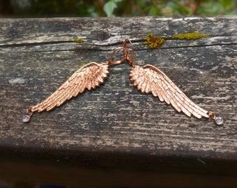 Angel Wings Earrings handmade rose gold tinted antiqued brass wings with crystal drop charm statement earrings handmade gift