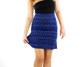 ON SALE Mini Skirt with Blue and Black print high waisted skirt a-line skirt a line skirt Elastic Waist Skirt Pull on Skirt jersey skirt