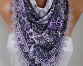 Valentine's Gift,Purple Leopard Scarf,Spring Scarf Animal Scarf,Cowl Scarf with Lace Edge Gift  For Women Fashion Accessories - fatwoman