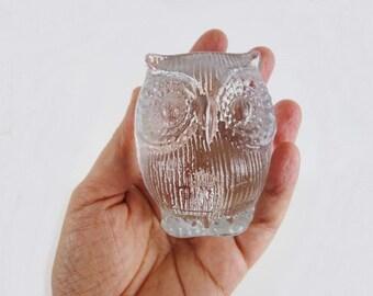 Vintage Art Glass Owl Figure by Bergdala Sweden