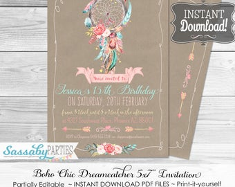 Boho Chic Invitation, Birthday or Baby - INSTANT DOWNLOAD - partially editable & printable, Dreamcatcher, Boho Party Invite, Floral