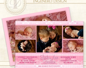 Photoshop Template, Card, Baby Girl, Birth Announcement, Baby New Arrival,  Photo Cards, Digital Photo Card, Birth Card,  Leila Baby Card