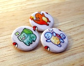 Pokemon Fabric Buttons - Geeky Accessories / Squirtle Charmander Bulbasaur / Video Game Badge / Pokemon Pin