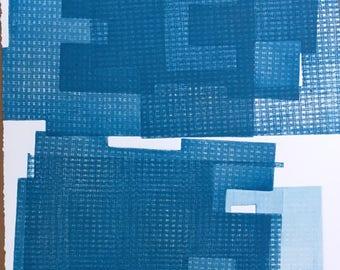 "Fine Art Etching . Minimalist. Blue Print: ""Intersection 20""  Size 15"" x 18"". unframed"