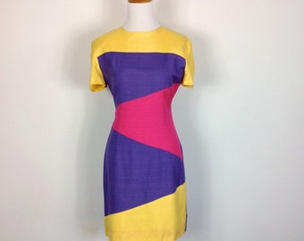 French Designer for Max Dietl Dress - Vintage 90s Color Block Wiggle Dress - Size Small