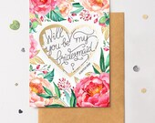 Bridesmaid Proposal Floral Scratch Off Card Heart Floral 6