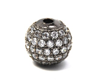 Clear Crystal Gunmetal Cubic Zirconia Beads, 6mm Round
