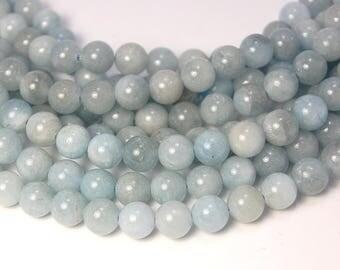 8mm Aquamarine Beads Strands, grade AB, Round -15.5 strand