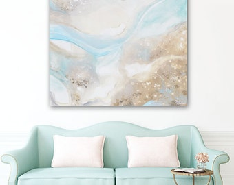 ORIGINAL Large Art Abstract Painting Pale Blue Green Beige Oil Painting Home Decor Wall Art Large Art Coastal Beach Art Cream Grey Christine