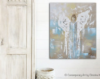 ORIGINAL Art Abstract Angel Oil Painting Acrylic Painting Home Decor Mothers Day Gift Wall Decor Textured Angel Wings Aqua Blue - Christine