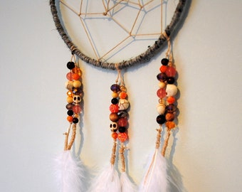 Orange, Coral, Pink, and Cream Modern Dream Catcher Wall Hanging