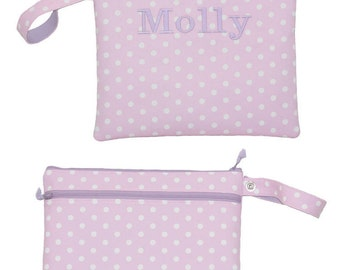 Personalized Wet/Dry Bag, Waterproof Swim Bag with dry pocket, Custom made Reusable Dirty/ Clean Bag.