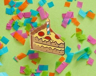 Bright Pizza Cake Enamel Pin - Hard Enamel Pizza Lapel Pin Birthday Cake Pin Pizza Kawaii Pin Cake Brooch Pizza Cake Pin Pizza Pin