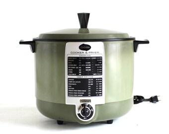 Sunbeam Cooker Fryer CF-A Avocado Green 1960s 1970s Small Kitchen Appliances