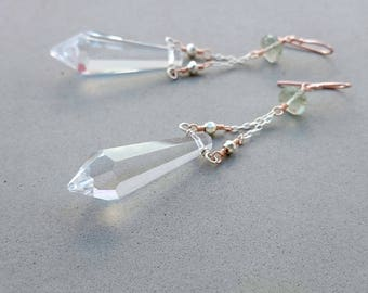 Long Spike Earrings - Clear Crystal Earrings with Green Amethyst, Pyrite, Sterling Silver and Rose Gold