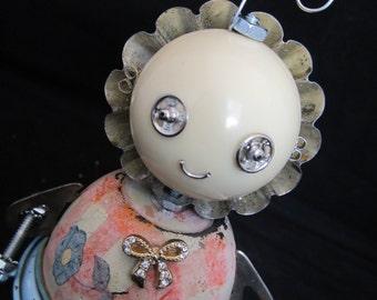 Baby Bot - found object robot sculpture assemblage by Cheri Kudja with Bitti Bots