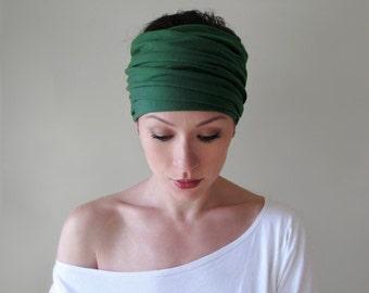 FOREST GREEN Ear Warmer - Pine Green Jersey Knit Headband - Dark Green Hair Wrap - Womens Head Scarf - Boho Hair Accessories