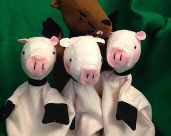 Three Little Pigs Hand Puppet Set for Children - Three Little Pigs - Fairy Tale Puppets - Titeres - Story Puppets