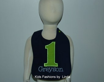 Personalized Storm Blue Bib with Solid Lime Green Number