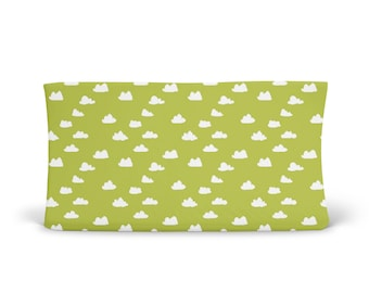 Changing Pad Cover Celery Clouds- Green Changing Pad- Cloud Changing Pad- Changing Pad Cover- Minky Changing Pad- Organic Changing Pad