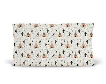 Changing Pad Cover Tan Teepee- Tan Changing Pad- Teepee Changing Pad- Changing Pad Cover- Minky Changing Pad- Organic Changing Pad- Baby