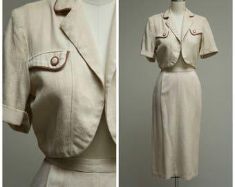 1940s Vintage Dress Set • Sharp Dresser • Neutral Rayon Linen 40s Skirt and Jacket Set Size Small
