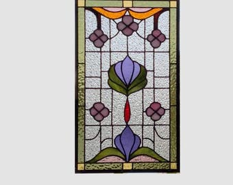 Stained glass panel window Art Nouveau pink flowers stained glass window panel window hanging beveled window art 0233 18 1/2 x 11