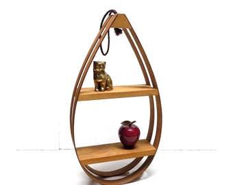 Mid Century Teak TearDrop Wood Bent Wood Hanging  Wall Shelf