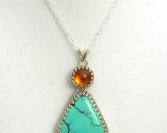 Natural Turquoise and Amber Necklace