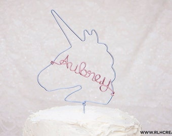 Unicorn Cake Topper / Personalized Cake Topper / Unicorn Party Decor / Pastel Cake Topper / Unicorn Cake / Smash Cake Topper /14 Wire Colors