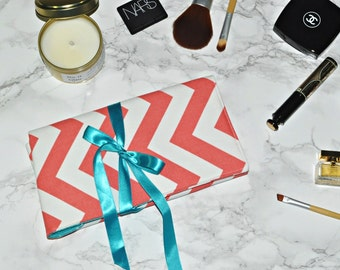 Travel Makeup Gift for Her // Coral and Turquoise Brush Roll - Chevron Brush Organizer - Makeup Gift Idea - Bridesmaid Favor - Made to Order