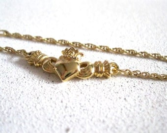 Vintage Claddagh jewelry Anklet Bracelet Avon collectible jewelry gold anklet irish symbol jewelry friendship love celtic jewelry  under 20